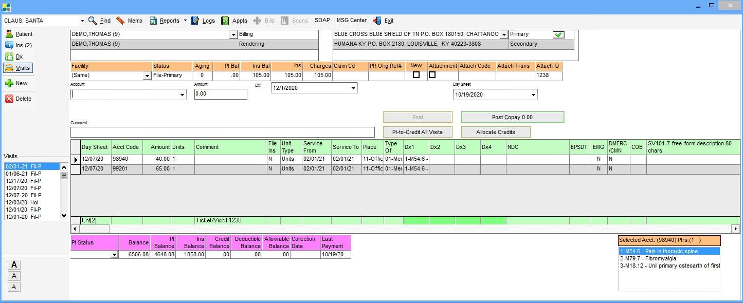 Patient data view screenshot